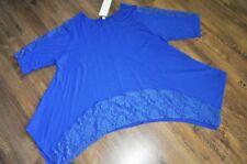 Lagenlook A-Linie-Oversize-Zipfel-Tunika Jersey+Spitze royal-blau XL,XXL,XXXL