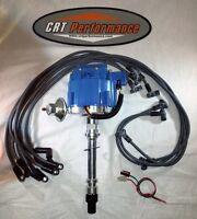 CHEVY V8 GM HEI DISTRIBUTOR BLUE + PLUG WIRES 1955-82 - CRT PERFORMANCE QUALITY