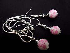 A PRETTY PINK  PORCELAIN FLOWER BEAD NECKLACE AND  EARRING SET. NEW.