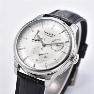 Corgeut 40mm White Dial Date Power Reserve SS ST1780 Automatisch Uhr mens watch