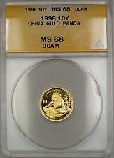 1998 Small Date China 10Y Yuan Gold Panda Coin ANACS MS-68 DCAM *Key Date* SB