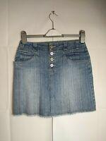 Womens Marks & Spencer Skirt Mini Blue Denim Striped Fringe Size 8 W28