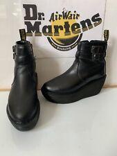 Dr. Martens Caitlin Black Leather Wedges Boots Size UK 4 EU 37