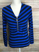 Michael Kors Women's Size Small Blue Black Stripe Long Sleeve 1/2 Zip Shirt Top