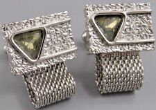 Mens Vintage Triangle Faceted Crystal MESH WRAP AROUND CUFFLINKS N 14