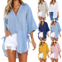 Women Long Sleeve Shirt Ladies Loose Casual Long Tunic Tops T-Shirt Blouse Nice