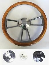"Jeep Wrangler YJ CJ Cherokee Oak Wood and Billet Steering Wheel 14"" Jeep cap"