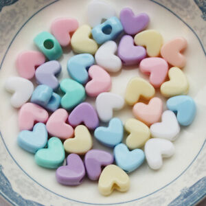 100+ Opaque Acrylic Mix Pastel Color Heart Beads Charm Fun Kids Crafts11x6mm USA