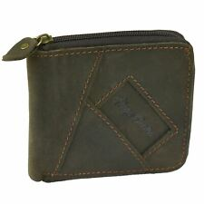 Mens Bifold Zip Wallet Genuine Brown Leather Coin Pouch Credit Card Money Holder
