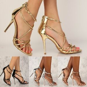 Prom Wedding Metallic Strappy High Heels Stiletto Sandals Shoes US 5.5-10 H228