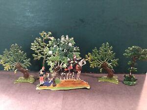 Heinrichsen: Flat Vignette With Trees. 30mm Scale Tin Figures. Pre War, c1890