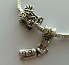 2pcs Baby Stroller Bead Feeding Bottle Dangle Charm for European Style Bracelet