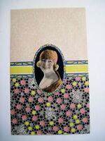 Pretty Vintage Art Deco Candy Box Label w/ Yellow & Pink Polka-Dots *