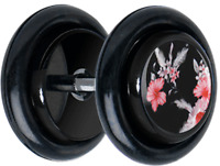 Pair JAPANESE HIBISCUS FLOWER CHEATER FAKE EAR GAUGES PLUGS EARRINGS 5126