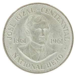 Philippines - Silver 1 Peso Coin - 'Jose Rizal Centennial' - 1961 - VF+