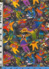 Fabric LAUREL BURCH Fantastic Felines Kitty CAT ANGELS  GOLD V. RARE 1yd, 20 in.
