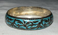 """Indian Silver & Turquoise Bangle Our bangle, from South Asia, measures 2.25"""""""