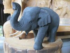 WOODEN ELEPHANT Wood Carved  Hand Wood Figurine Statue Decor Sculpture Trunk Up