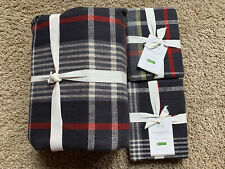 POTTERY BARN Carson Plaid Cotton FULL/QUEEN Duvet & 2 EURO Shams NEW