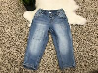 H&M Baby Boy Jeans Pant Adjustable Waist Blue Cotton Sz 9-12M