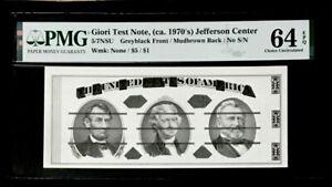 SPECIMEN GIORI TEST NOTE (ca. 1970's) INVERTED BACK $5- PMG #64EPQ CH UNC-RARE