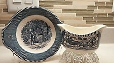 ROYAL CHINA CURRIER & IVES GRAVY BOAT & UNDERPLATE BLUE Road Winter Oaken Bucket