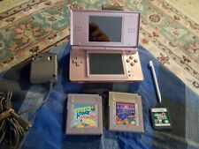 "Nintendo DS Lite ""Pink"" W/3 Games Cord Stylus Works Great !"