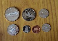 LOTTO 7 MONETE CANADA DOLLAR 1 5 10 25 50 ELIZABETH II 1984 ARGENTO SUBALPINA