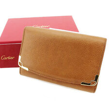 Cartier Wallet Purse zipper wallet Beige Gold Woman unisex Authentic Used T2968