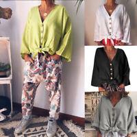 ZANZEA Womens Long Sleeve V Neck Plain Tops Ladies Casual Shirt Blouses Pullover