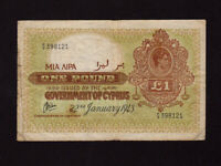 Cyprus:P-24,1 Pound,1943 * King George VI * F+ *