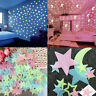 3D Wall Stars Moon Stickers Luminous Fluorescent Glow in the Dark Room Decor
