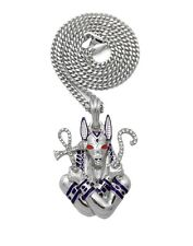Iced Silver PT Egyptian Anubis Pendant & Box Cuban Rope Chain Hip Hop Necklace