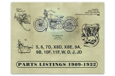 Parts Book 1909-1932 V-Twins 5 6 7D X8D X8E 9A 9B 10F 11F W D J JD