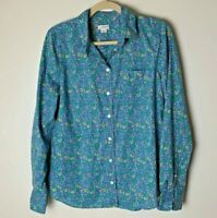 J. by J. Crew Women's Blouse Size Medium Top Shirt Floral Long Sleeves Cotton