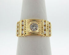 Estate 0.65ct Genuine Diamonds Solid 18k Yellow Gold Men's Ring 9mm Wide Band