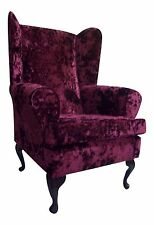 FIRESIDE / WING BACK / QUEEN ANNE CHAIR CARMINE-WINE CRUSHED VELVET FABRIC