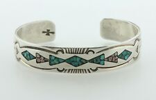 """Sterling Silver 925 Gibson Gene Turquoise & Pink Coral Inlay Cuff Bracelet 6.25"""""""