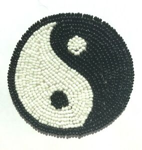 Lot of 2 Vintage 1980's Yin Yang Symbol Beaded Appliques Sew On Craft Patch