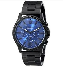 BULOVA CARAVELLE NEW YORK Men's Chronograph Watch-Black Stainless Tone-Blue Dial