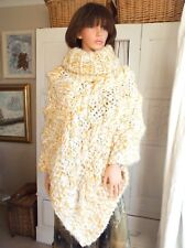 Hand knitted Cable knit super chunky thick fluffy cream gold wool mix poncho OOK