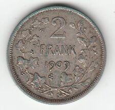 MONNAIE 2 FRANK 1909  ARGENT SYLVER BELGIQUE