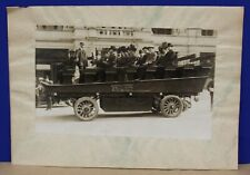 Photograph 1908 NYC Green Cars Electric Open Bus w Passengers Hotel Bartholdi