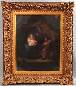 Antique GIUSEPPE MAZZOLINI Italian Nativity Oil Painting P.G. Batoni Old Master
