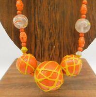 Vintage Japan Orange Yellow Paint Splatter Single Strand Avant Garde 30 Necklace