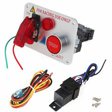 12V Racing Car Engine Start Push Button Ignition Switch Panel Red LED Toggle