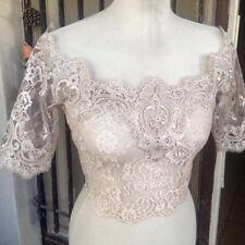 Off Shoulder Wedding Jackets Wrap Bridal Mid Sleeve Bolero Lace Applique Vintage