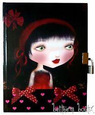 Goth: Journal Intime Cadenas 2 Clés Fille Coeur Rose NOIR & Noeud Rouge gothique