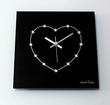 Luxus Damenuhr Glas schwarz Funk Wanduhr silber original Swarovski Elements Uhr