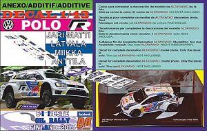 ANEXO DECAL 1/43 VOLKSWAGEN POLO R WRC J-M.LATVALA R R.FINLAND 2014 WINNER (06)